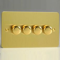Varilight 4 Gang 2 Way 4x250W Push on/off Dimmer (Twin Plate) Ultra Flat Brushed Brass HFB44